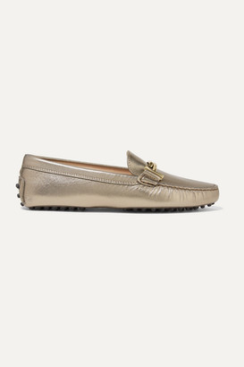 Tod's Gommino Embellished Metallic Leather Loafers