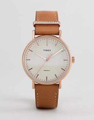 Timex TW2R70200 Fairfield Leather Watch In Tan