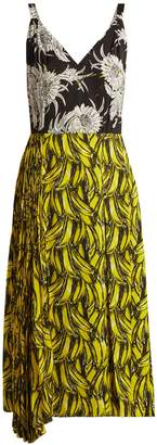 Prada Banana and Dahlia-print sleeveless dress