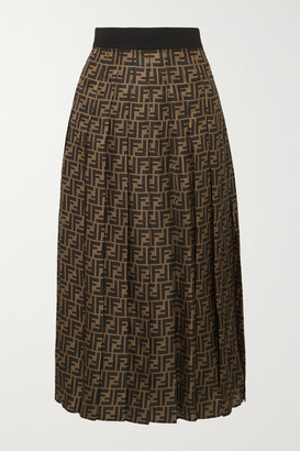 Fendi Pleated Silk-jacquard Midi Skirt - Brown