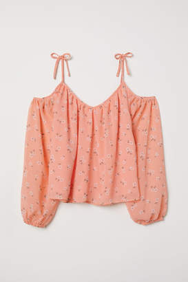 H&M Open-shoulder Blouse - Orange
