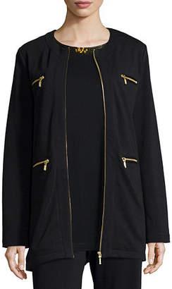 Joan Vass Four-Pocket Cotton Interlock Jacket, Plus Size