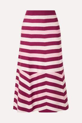 Gabriela Hearst Striped Wool And Cashmere-blend Midi Skirt - Burgundy