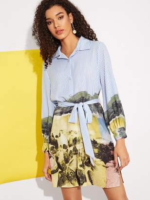 Shein Landscape Painting Striped Belted Shirt Dress