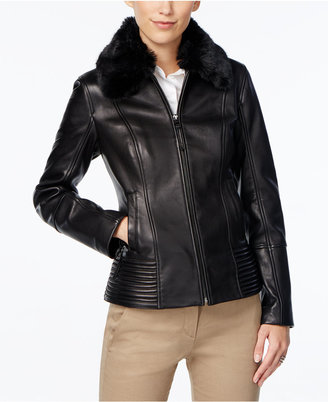 Jones New York Faux-Fur-Collar Leather Jacket $450 thestylecure.com