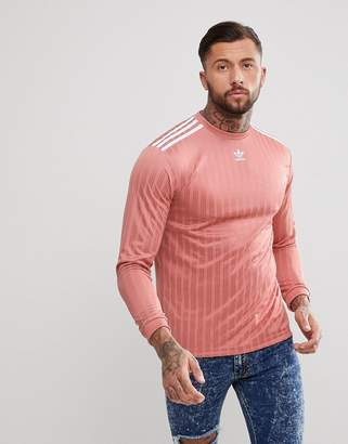 adidas adicolor Long Sleeve Soccer Jersey In Pink CW1226