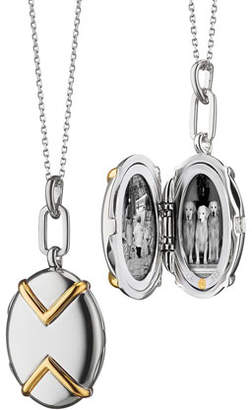 Monica Rich Kosann Two-Tone Silver & 18k Yellow Gold Chevron Oval Locket Necklace, 17""