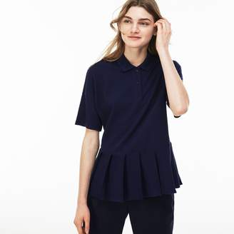 Lacoste Women's Pleated Thick Cotton Pique Polo