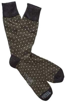 Corgi Polka Dot Socks in Olive/White