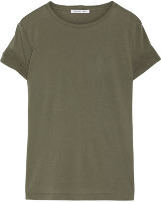 Helmut Lang - Distressed Slub Cotton And Cashmere-blend Jersey T-shirt - Army green $210 thestylecure.com