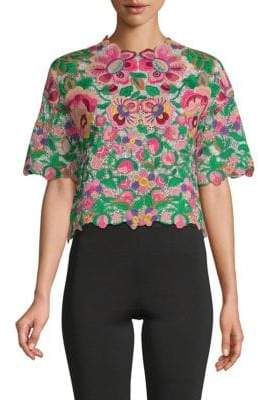 Valentino Short-Sleeve Embroidered Top