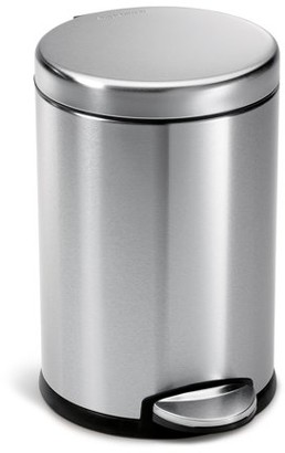 Simplehuman 4.5 Litre / 1.2 Gallon Round Step Trash Can Fingerprint-Proof Brushed Stainless Steel