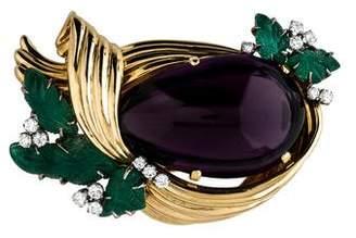 Amethyst, Emerald & Diamond Brooch