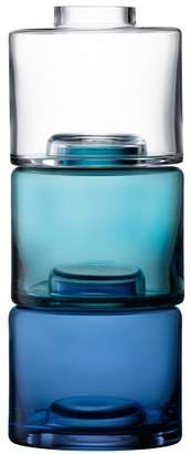 LSA International Blue & Clear Stacking Vase Trio