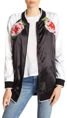 True Religion Longline Embroidered Bomber Jacket