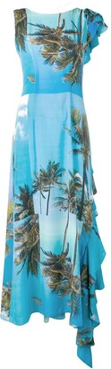 Natasha Zinko printed frilled back maxi dress