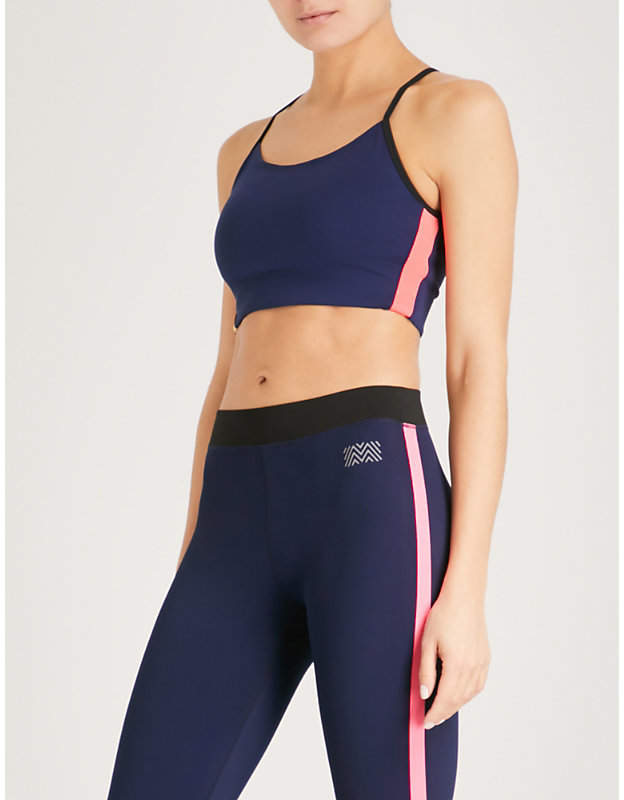 Striped-panel jersey sports bra