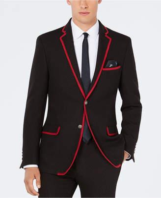 Tallia Men Slim-Fit Stretch Red Micro Dot Knit Suit Jacket