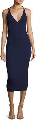 MICHAEL Michael Kors Double-Strap Ribbed-Knit Sheath Dress, Navy $175 thestylecure.com