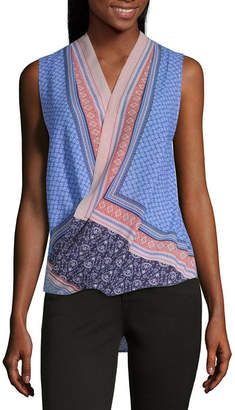 Liz Claiborne Ibiza Waves Womens V Neck Sleeveless Wrap Shirt