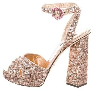 Dolce & Gabbana Sequin Platform Sandals