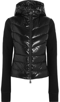 Quilted Shell And Ribbed-knit Down Hooded Cardigan - Black