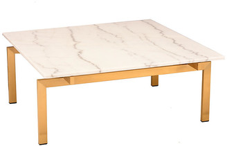One Kings Lane Louve Square Coffee Table - White/Gold