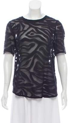 Rebecca Taylor Short Sleeve Sheer Blouse