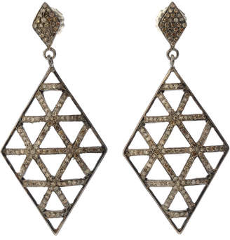 Bavna Black Silver Kite Drop Earrings with Champagne Diamonds