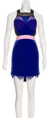 Three floor Lace Cutout Dress Navy Lace Cutout Dress