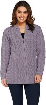 Kilronan Regular Merino Wool Zip Front Long Cardigan