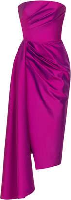 Rasario Asymmetrical Silk Satin Gown Size: 36