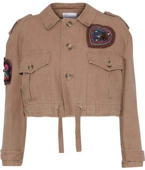 RED Valentino Cropped Appliquéd Cotton-Canvas Jacket