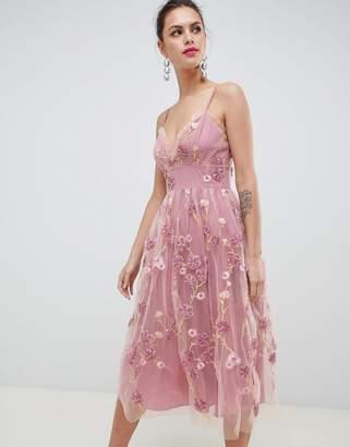 Asos Edition EDITION 3D floral cami midi prom dress