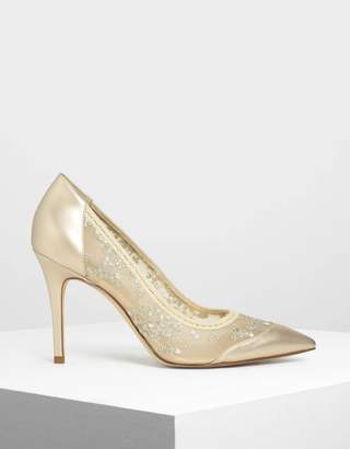 Charles & Keith Embroidered Mesh Pointed Pumps