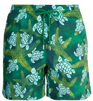 Vilebrequin Moorea Starlettes &turtles Print Swim Shorts - Mens - Green Multi