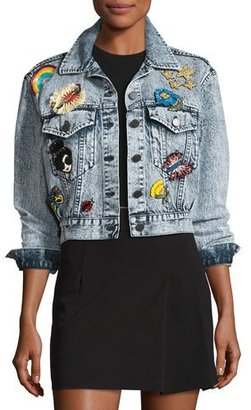 Alice + Olivia Chloe Cropped Denim Jacket with Patches, Light Blue $795 thestylecure.com