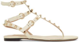 Valentino White Garavani Rockstud Cage Sandals