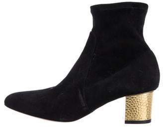 Charlotte Olympia Suede Round-Toe Booties Black Suede Round-Toe Booties