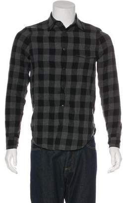 John Elliott Buffalo Plaid Leather-Trimmed Shirt