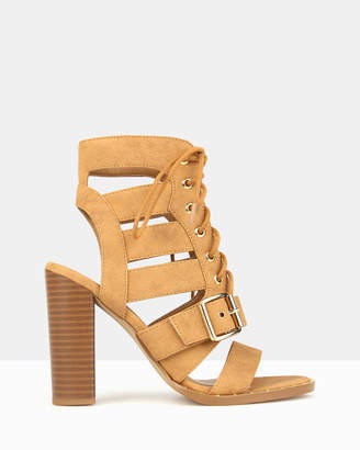 betts Respect Lace Up Block Heels
