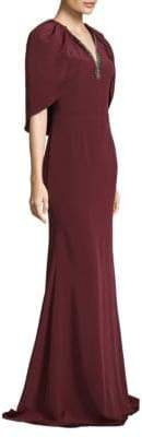 David Meister Floor-Length Cape Crepe Gown
