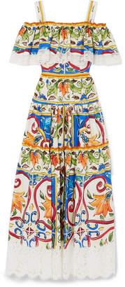 Dolce & Gabbana Maiolica Lace-trimmed Printed Cotton-blend Poplin Maxi Dress - White