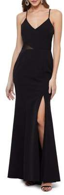 Xscape Evenings Sleeveless Illusion Side Evening Gown