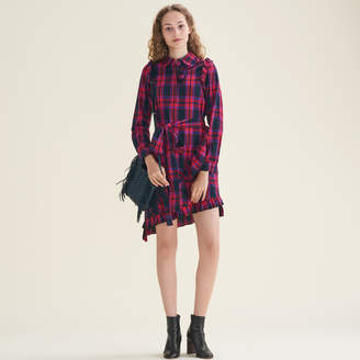 Maje Checked dress with frills