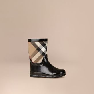 Burberry House Check Panel Rain Boots $175 thestylecure.com