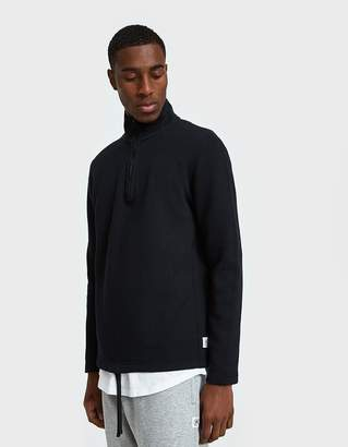 Reigning Champ Half Zip LS Mesh Double Knit in Black