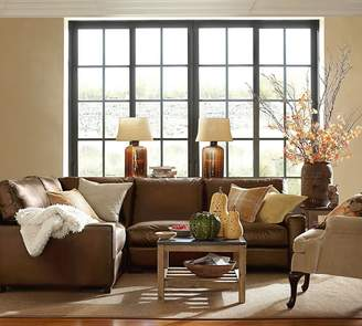 Pottery Barn Turner Square Arm Leather 3-Piece L-Shaped Sectional with Corner