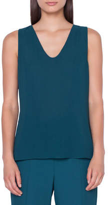 Akris Sleeveless V-Neck Georgette Blouse