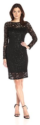 Marina Women's Long Sleeve Short Stretch Illusion Lace $109 thestylecure.com